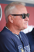 ANAHEIM, CA - MAY 17:  Manager Joe Maddon #70 of the Tampa Bay Rays talks to the media before the game against the Los Angeles Angels of Anaheim at Angel Stadium on Saturday, May 17, 2014 in Anaheim, California. The Angels won the game in a 6-0 shutout. (Photo by Paul Spinelli/MLB Photos via Getty Images) *** Local Caption *** Joe Maddon