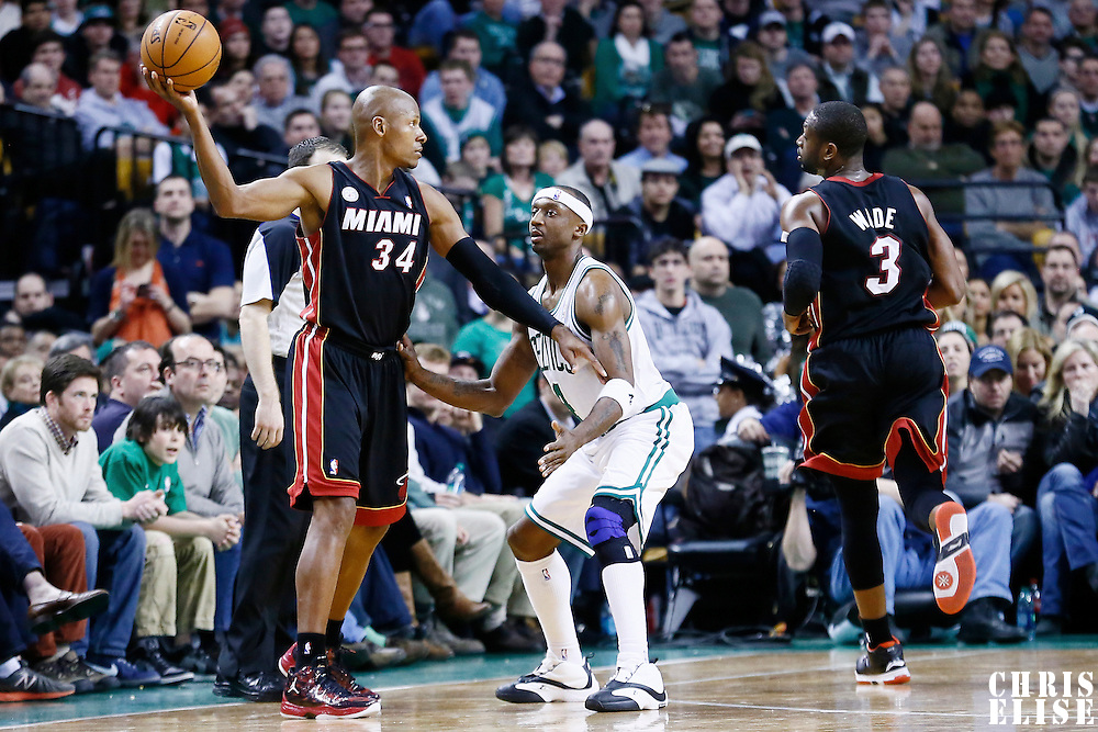 27 January 2013: Boston Celtics shooting guard Jason Terry (4) defends on Miami Heat shooting guard Ray Allen (34) during the Boston Celtics 100-98  2OT victory over the Miami Heat at the TD Garden, Boston, Massachusetts, USA.