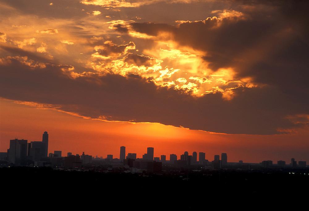 Silhouette Of Downtown Houston Skyline at Sunrise/Sunset
