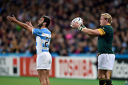 Martin Landajo of Argentina and Adriaan Strauss of South Africa - Mandatory byline: Patrick Khachfe/JMP - 07966 386802 - 30/10/2015 - RUGBY UNION - The Stadium, Queen Elizabeth Olympic Park - London, England - South Africa v Argentina - Rugby World Cup 2015 Bronze Final.
