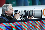 Photographer Piotr Nowak (Rzeczpospolita Daily) shoots images during T-Mobile ExtraLeague soccer match between Legia Warsaw and Wisla Krakow in Warsaw, Poland.<br /> <br /> Poland, Warsaw, March 15, 2015<br /> <br /> Picture also available in RAW (NEF) or TIFF format on special request.<br /> <br /> For editorial use only. Any commercial or promotional use requires permission.<br /> <br /> Mandatory credit:<br /> Photo by © Adam Nurkiewicz / Mediasport