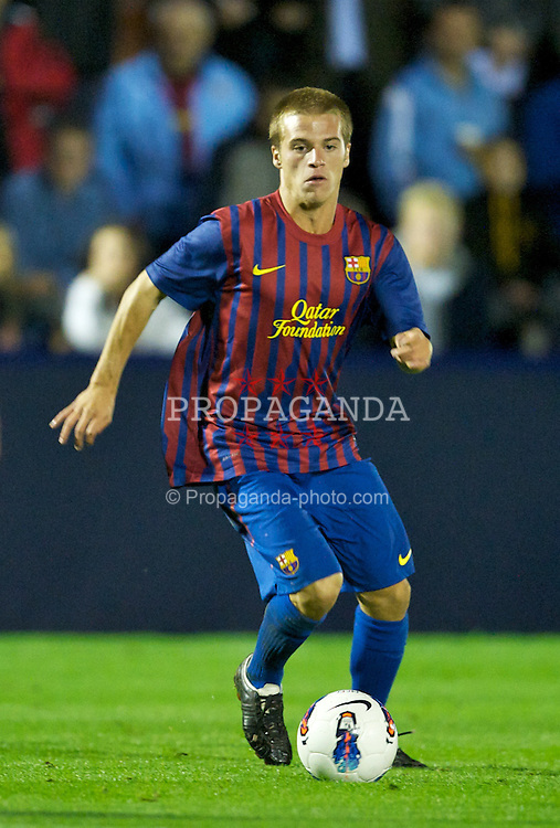 HYDE, ENGLAND - Thursday, September 15, 2011: FC Barcelona's Ernesto Cornejo Sanchez in action against Manchester City during the NextGen Series Group 1 match at Ewen Fields. (Pic by David Rawcliffe/Propaganda)