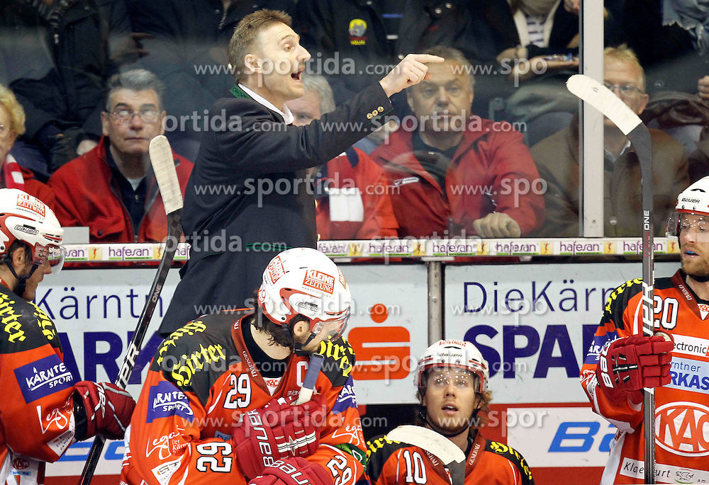 "13.03.2012, Stadthalle, Klagenfurt, AUT, EBEL, EC KAC vs KHL Medvescak Zagreb, Playoff, Halbfinale, 4. Spiel, im Bild Trainer Christian Weber (KAC),  during the semifinal Match of ""Erste Bank Icehockey League"", fourth play between EC KAC and KHL Medvescak Zagreb at Stadthalle, Klagenfurt, Austria on 2012/03/13. EXPA Pictures © 2012, PhotoCredit: EXPA/ Oskar Hoeher."