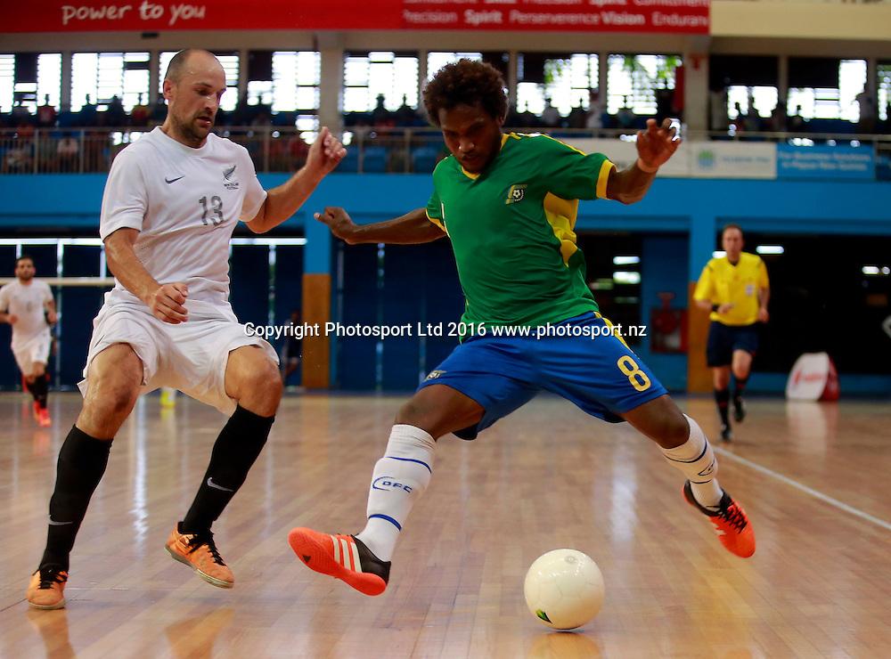 Solomon Island's Jeffery BULE gets the better of New Zealand's Miroslav MALIVUK. 2016 OFC Futsal Championship, Match Day 3, Solomon Islands v New Zealand, Vodafone Arena Suva Fiji, Wednesday10th February 2016. Photo: Shane Wenzlick / www.phototek.nz