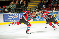 KELOWNA, CANADA - OCTOBER 10: Filip Vasko #10 of the Kelowna Rockets warms up on the ice as the Spokane Chiefs visit the Kelowna Rockets on October 10, 2012 at Prospera Place in Kelowna, British Columbia, Canada (Photo by Marissa Baecker/Shoot the Breeze) *** Local Caption ***