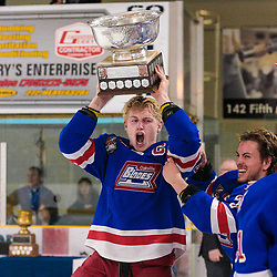COCHRANE, ON - MAY 4: The Oakville Blades celebrate after winning the 2019 Dudley Hewitt Cup on May 4, 2019 at Tim Horton Events Centre in Cochrane, Ontario, Canada.<br /> (Photo by Christian Bender / OJHL Images)