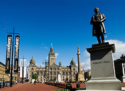 View of statue of Robert Peel in George Square in Glasgow Scotland