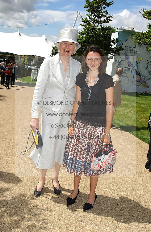 Left to right, BRONWEN, VISCOUNTESS ASTOR and VIOLET ELLIOT at the 4th dfay of the 2005 Glorious Goodwood horseracing festival at Goodwood Racecourse, West Sussex on 29th July 2005.    <br />