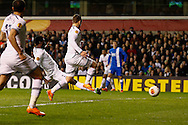 Emmanuel Adebayor of Tottenham Hotspur (2nd left) scores his second goal of the game to make it 3-2  on the night during the UEFA Europa League match at White Hart Lane, London<br /> Picture by David Horn/Focus Images Ltd +44 7545 970036<br /> 27/02/2014