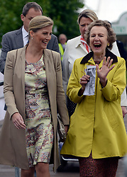 © Licensed to London News Pictures. 02/07/2012. East Molesey, UK HRH Sophie Countess of Wessex (L). The RHS Hampton Court Palace Flower Show 2012. The show runs 3-8 July, 2012. Photo credit : Stephen Simpson/LNP