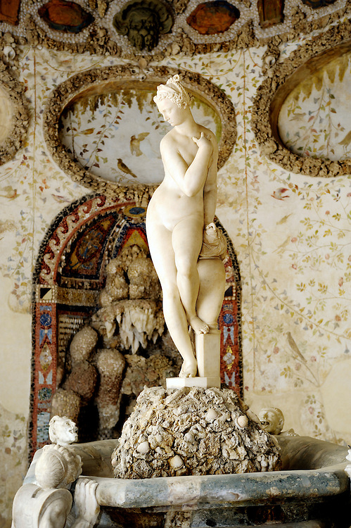 Inside the 16th C. Large Grotto or Grotta di Buontalenti in the Boboli Gardens, Florence, Italy. Bathing Venus by Giambologna