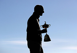 Team USA captain Jim Furyk with the Ryder Cup during the Team USA photocall on preview day three of the Ryder Cup at Le Golf National, Saint-Quentin-en-Yvelines, Paris. PRESS ASSOCIATION Photo. Picture date: Wednesday September 26, 2018. See PA story GOLF Ryder. Photo credit should read: David Davies/PA Wire. RESTRICTIONS: Editorial use only. No commercial use.