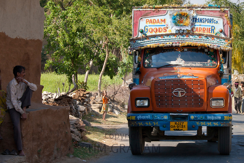 Tata truck, Padam Transport Co. goods carrier, passes throughTarpal in Pali District of Rajasthan, Western India