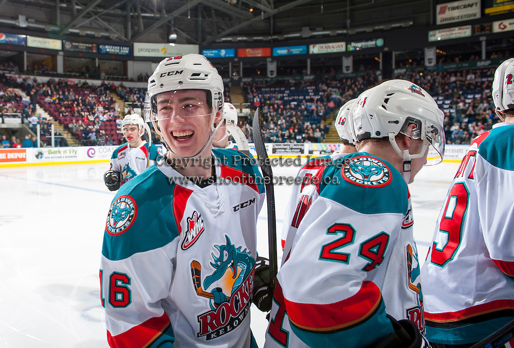 KELOWNA, CANADA - FEBRUARY 10:Kole Lind #16 of the Kelowna Rockets laughs on the ice at the bench against the Vancouver Giants  on February 10, 2017 at Prospera Place in Kelowna, British Columbia, Canada.  (Photo by Marissa Baecker/Shoot the Breeze)  *** Local Caption ***