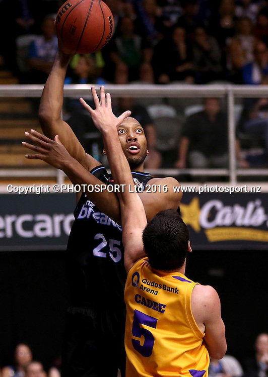 Breakers` Akil Mitchell is challenged by Kings` Jason Cadee in the Round 3 ANBL Basketball Match, New Zealand Breakers v Sydney Kings, North Shore Events Centre, Auckland, New Zealand, Thursday, October 20, 2016. Copyright photo: David Rowland / www.photosport.nz