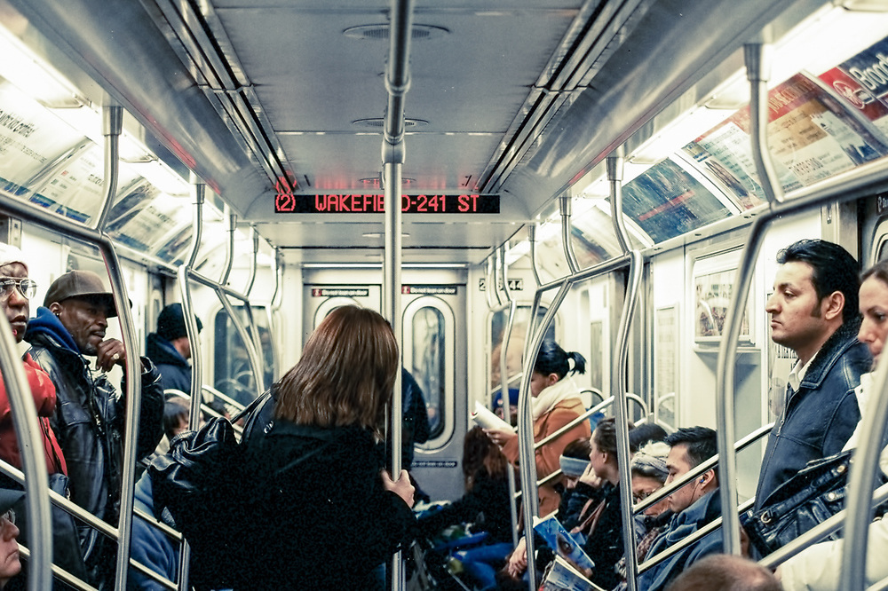 A scene from a New York City subway car. NYC 2011