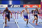 Andrew Pozzi (GBR) centre runs for the line on his way to winning gold in the Mens 60m Hurdles Final in a seasons best time of 7.46 during the final session of the IAAF World Indoor Championships at Arena Birmingham in Birmingham, United Kingdom on Saturday, Mar 2, 2018. (Steve Flynn/Image of Sport)