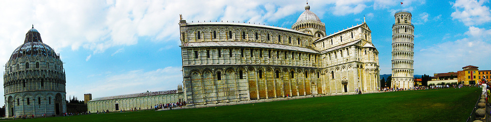 Three images make up this one image of The Baptistry of St. John, Duomo Cathedral and Leaning tower in Pisa, Tuscany, Italy. 2nd July, 2011..©Pic : Michael Schofield.