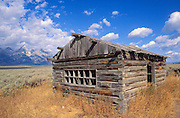 Pioneer cabin on Antelope Flats under the Grand Tetons, Grand Teton National Park, Wyoming