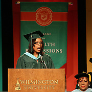 Wilmington University candidate for Master of Education degree in reading Pamala A. Alfaro addresses students during Wilmington University commencement exercise Sunday, May 17, 2015, at Chase Center On The Riverfront in Wilmington Delaware.
