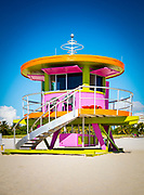 A Jetsons-like, Miami Modern influenced lifeguard stand in Miami Beach designed by architect Bill Lane.