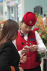 Ticket inspection in new modern Beijing South Railway Station in China