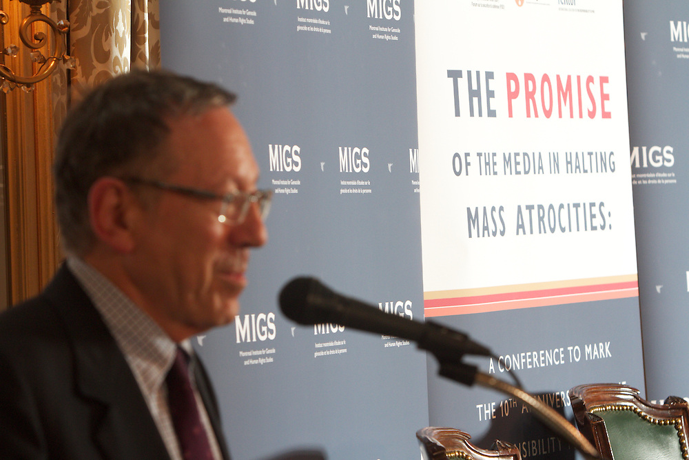 MIGS Conference 2011..Closing Keynote by the Honourable Irwin Cotler..From the press release:..Some of the world's foremost experts on the role of media in preventing mass atrocities will bring their latest insights to the upcoming conference, The Promise of Media in Halting Mass Atrocities: A Conference to Mark the 10th Anniversary of the Responsibility to Protect (R2P). Concordia University's Montreal Institute for Genocide and Human Rights Studies (MIGS) is organizing the conference, which takes place October 20 and 21 at the Mount Stephen Club (1440 Drummond St.). 