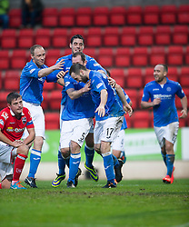 St Johnstone&rsquo;s James McFadden celebrates after scoring their goal.<br /> half time : St Johnstone 1 v 0 Ross County, Scottish Premiership 22/11/2014 at St Johnstone&rsquo;s home ground, McDiarmid Park.