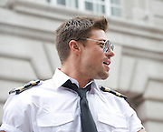LGBT Pride Parade <br /> in Central London, Great Britain <br /> 2nd July 2011 <br /> <br /> Pride 2011 <br /> <br /> colour and atmosphere, floats, audience, people marching, and entertainment in Trafalgar Square. <br /> <br /> Duncan James<br /> of BLUE<br /> <br /> <br /> <br /> Photograph by Elliott Franks