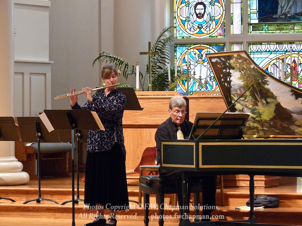 Valley Vivaldi players Robin Kani, flute, and Allan Birney, harpsichord, perform in a Sunday evening concert starting at 7:30 PM on July 19, 2009 at Wesley Church in Bethlehem, Pennsylvania, USA.