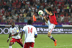 October 8, 2017 - Alexandria, Egypt - Egyptian midfielder Mohamed Elneny (R) controls the ball  during the World Cup 2018 Africa qualifying match between Egypt and Congo at the Borg el-Arab stadium in Alexandria on October 8, 2017.  Egypt won 2-1. (Credit Image: © Ahmed Awaad/NurPhoto via ZUMA Press)