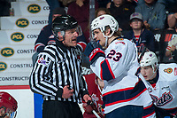 REGINA, SK - MAY 20: Sam Steel #23 of Regina Pats speaks to linesman against the Acadie-Bathurst Titan at the Brandt Centre on May 20, 2018 in Regina, Canada. (Photo by Marissa Baecker/CHL Images)