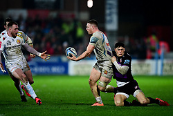 Sam Simmonds of Exeter Chiefs is challenged by Louis Rees-Zammit of Gloucester Rugby - Mandatory by-line: Ryan Hiscott/JMP - 14/02/2020 - RUGBY - Kingsholm - Gloucester, England - Gloucester Rugby v Exeter Chiefs - Gallagher Premiership