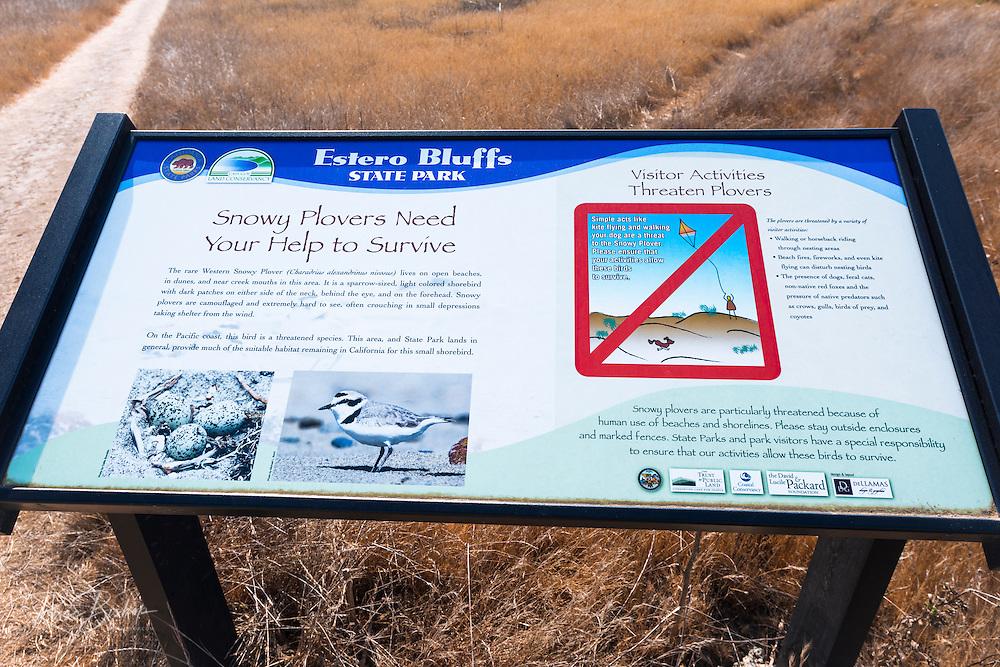 Interpretive sign at Estero Bluffs State Park, Cayucos, California USA