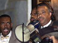 FILE PHOTO: Rev. Al Sharpton speaks at a protest of the July 12 beating of Thomas Jones by city police officers attempting to arrest the carjacking suspect, Sunday, July 23, 2000, in Philadelphia. The beating incident was videotaped by a local television station helicopter, and broadcast around the world, shedding a bad light on the city of Philadelphia two weeks before the Republican National Convention. (William Thomas Cain/photodx)