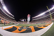 Fireworks go off during the playing of the National Anthem in Paul Brown Stadium in this general view, wide angle photograph of the stadium interior taken during pregame festivities before the Cincinnati Bengals NFL AFC Wild Card playoff football game against the Pittsburgh Steelers on Saturday, Jan. 9, 2016 in Cincinnati. The Steelers won the game 18-16. (©Paul Anthony Spinelli)