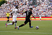 D.C. United midfielder Junior Moreno (5)take the ball away from FC Cincinnati forward Rashawn Dally (81) during a MLS soccer game, Thursday, July 18, 2019, in Cincinnati, OH. D.C. United defeated FC Cincinnati 4-1. (Jason Whitman/Image of Sport)