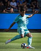 Seattle Sounders defender Roman Torres (29) passes the ball during a MLS soccer match against the LAFC in Los Angeles, Sunday, April 21, 2019. LAFC defeated the Sounders 4-1. (Ed Ruvalcaba/Image of Sport)