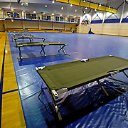 Cots are seen at a warming shelter at the Troy Parks and Recreation Center in Troy, Ala., Monday, Jan. 6, 2014. (Photo/Thomas Graning)