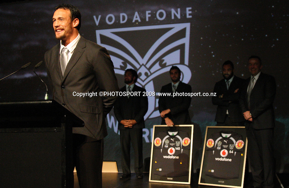 Logan Swann. Vodafone Warrior's annual awards, Sky City Convention Centre, Auckland. 16 September 2008. Photo: Andrew Cornaga/PHOTOSPORT