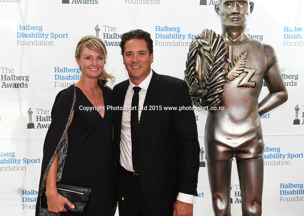 Kirsty and Tim Wade pose for a picture on the red carpet at the 52nd Halberg Awards. Halberg Disability Sport Foundation. Vector Arena, Auckland, New Zealand. Wednesday 11 February 2015. Copyright Photo: Andrew Cornaga / www.photosport.co.nz