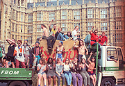 Ravers cheering from their truck outside Parliament Buildings,Westminster.2nd Criminal Justice March,London,UK,23rd of July 1994.