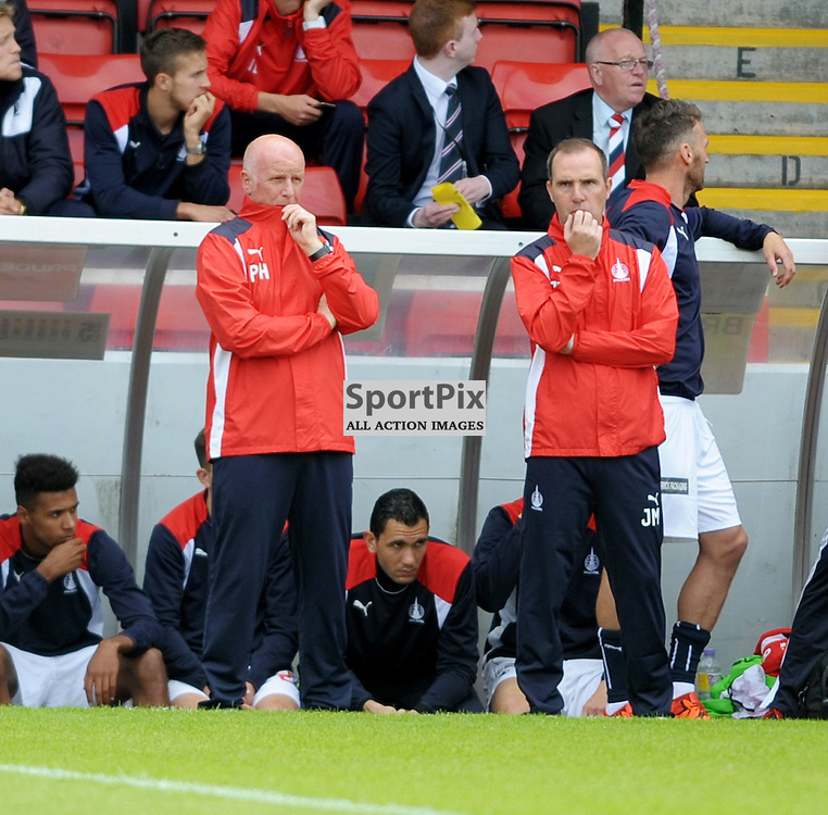 Falkirk Manager Peter Houston (left)<br /> <br /> Stirling Albion v Falkirk, Betfred Cup, Saturday 16th July 2016 <br /> <br /> (c) Alex Todd | SportPix.org.uk