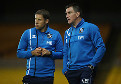 """Port Vale manager Michael Brown (left) and coach Chris Morgan (right) during the pre-season friendly match at Vale Park, Stoke. PRESS ASSOCIATION Photo. Picture date: Tuesday August 1, 2017. See PA story SOCCER Port Vale. Photo credit should read: Nick Potts/PA Wire. RESTRICTIONS: EDITORIAL USE ONLY No use with unauthorised audio, video, data, fixture lists, club/league logos or """"live"""" services. Online in-match use limited to 75 images, no video emulation. No use in betting, games or single club/league/player publications."""