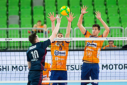 Vilimanovic Andrija of ACH Volley AND Pavlovic Uros of ACH Volley during Champions League match between ACH Volley Ljubljana and Fakel Novy Urengoy, on February 19, 2020 in Hala Tivoli, Ljubljana, Slovenia. Photo by Ziga Zupan / Sportida