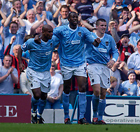 Photo. Glyn Thomas, Digitalsport<br /> NORWAY ONLY<br /> <br /> Manchester City v Newcastle United. <br /> FA Barclaycard Premiership. 01/05/2004.<br /> Man City's Paulo Wanchope (C) celebrates putting his side 1-0 up with Trevor Sinclair (L) and Richard Dunne.