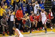 Golden State Warriors guard Stephen Curry (30) hustles back on defense after scoring a three pointer against the Houston Rockets during Game 4 of the Western Conference Finals at Oracle Arena in Oakland, Calif., on May 22, 2018. (Stan Olszewski/Special to S.F. Examiner)