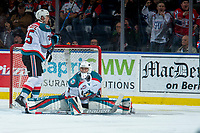 KELOWNA, CANADA - MARCH 3:  James Porter #1 of the Kelowna Rockets misses a save against the Spokane Chiefs on March 3, 2018 at Prospera Place in Kelowna, British Columbia, Canada.  (Photo by Marissa Baecker/Shoot the Breeze)  *** Local Caption ***
