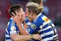 Huw Jones of Western Province is congratulated by Werner Kok of Western Province for scoring a try during the Currie Cup Premier Division match between the DHL Western Province and the Pumas held at the DHL Newlands rugby stadium in Cape Town, South Africa on the 17th September  2016<br /> <br /> Photo by: Shaun Roy / RealTime Images