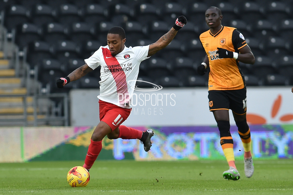 Callum Harriott of Charlton Athletic kicks forward  during the Sky Bet Championship match between Hull City and Charlton Athletic at the KC Stadium, Kingston upon Hull, England on 16 January 2016. Photo by Ian Lyall.